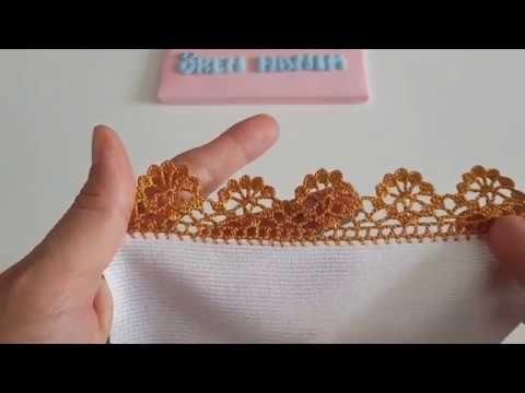Altın Renkli Havlu Kenarı Modeli Yapılışı Anlatımlı Videolu