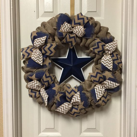 Hey, I found this really awesome Etsy listing at https://www.etsy.com/listing/248091067/dallas-cowboy-burlap-wreath-navy-and