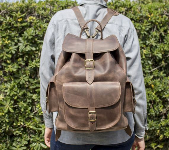 Leather Backpack  Extra LARGE Full Grain three pockets