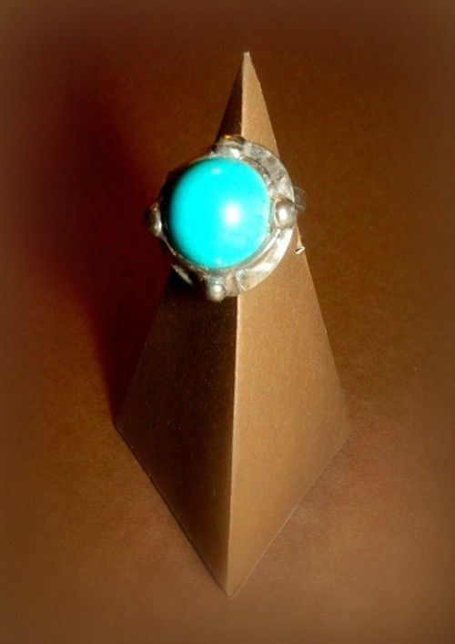 http://megasilver.pl/Pierscionek-p294 #ring #metalwork #handmade #blue #turquoise #stone #jewelry #jewellery