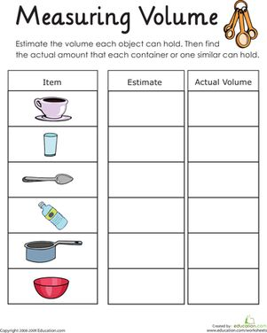 Help your child practice his skills with volume with this printable worksheet, which asks him to measure how much liquid items can hold.