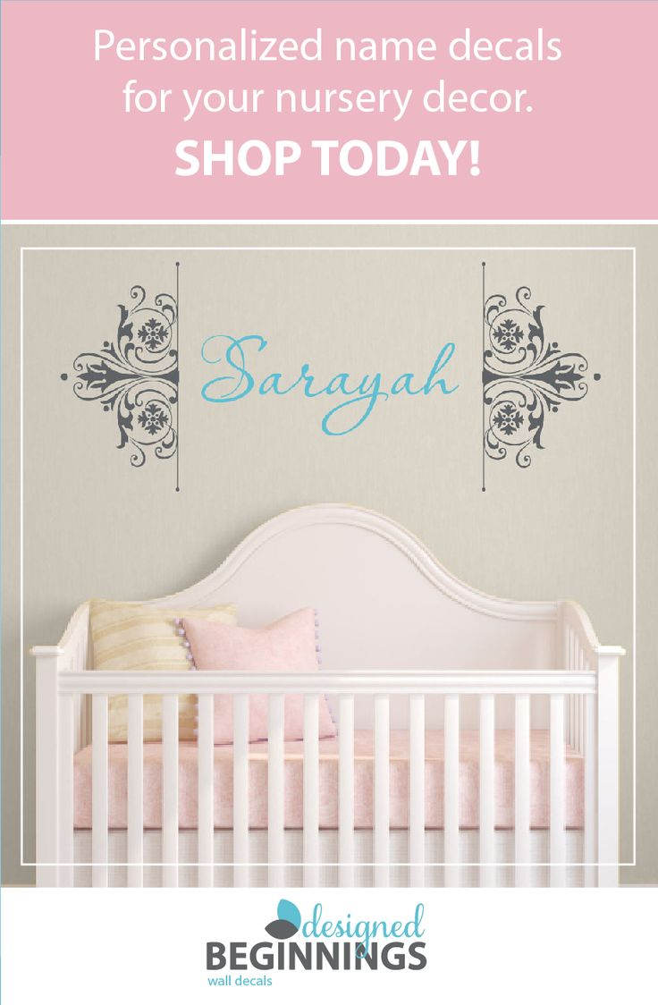 Damask wall decals add an elegant touch to your nursery. Thepersonalized name wall decals are easy to apply and easy to remove. And it looks like it was painted on the wall! Girls wall decal, Baby wall decal, Damask wall stencil, Girls bedroom decor, Name decal