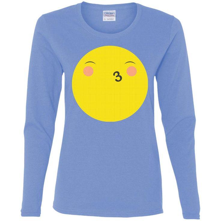 Eyes Closed Kiss Face Emoji T Shirt G540L Gildan Ladies' Cotton LS T-Shirt