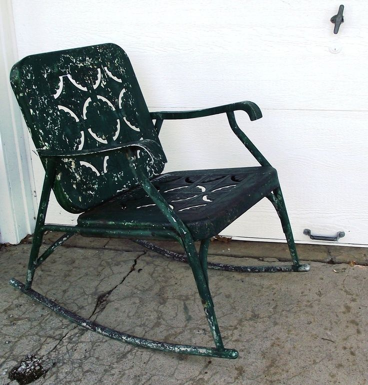 vintage metal rockers  Vintage Garden Green Metal Rocking Chair ...