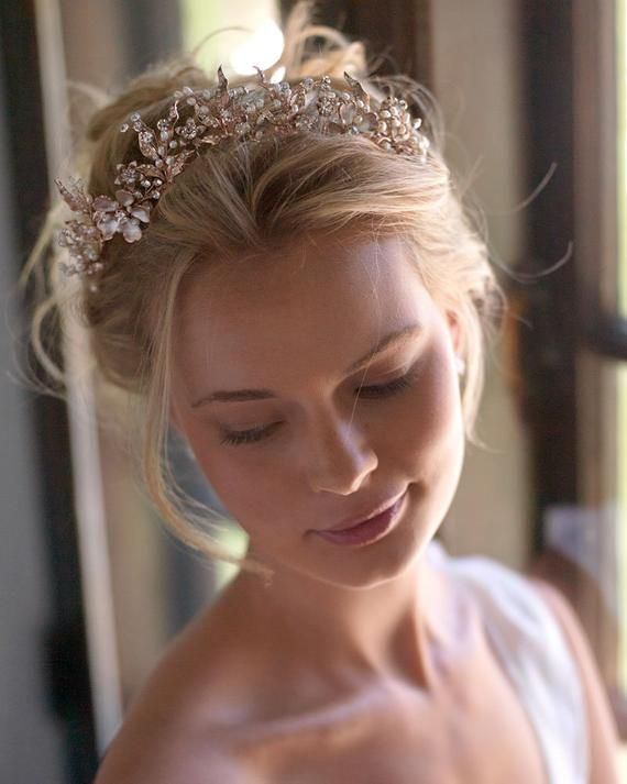 Rose Gold Pearl Tiara Wedding Headpiece Rose Gold Floral Bridal Tiara TI-7049 Bridal Hair Accessory Freshwater Pearl Wedding Crown