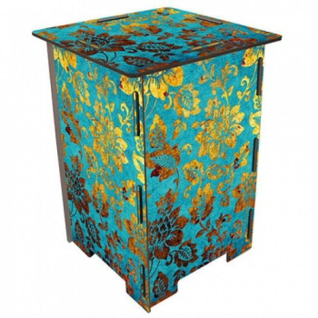 Mermaidy Kruk/ bijzettafel  bloemenmotief turquois/goud -