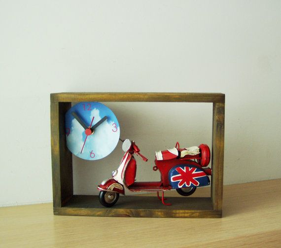 Red Vespa clock grey wooden frame clock with by ArktosCollectibles, $61.20