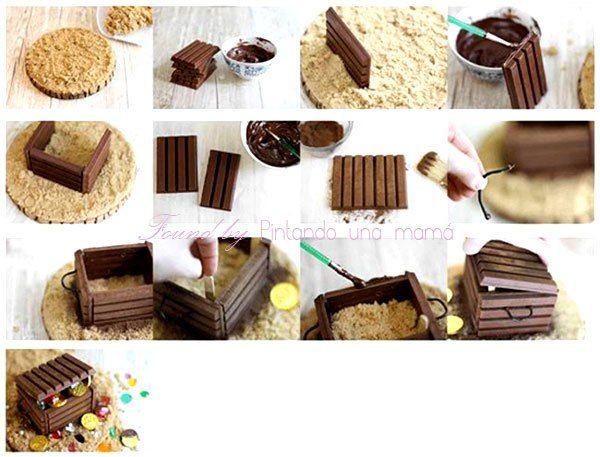 "Cofre del Tesoro de Chocolate Kit Kat para Fiesta Pirata o Halloween ¿Verdad que resulta extraño inicialmente leer ""Cofre del Tesoro de Chocolate Kit Kat para Fiesta Pirata o Halloween""…"