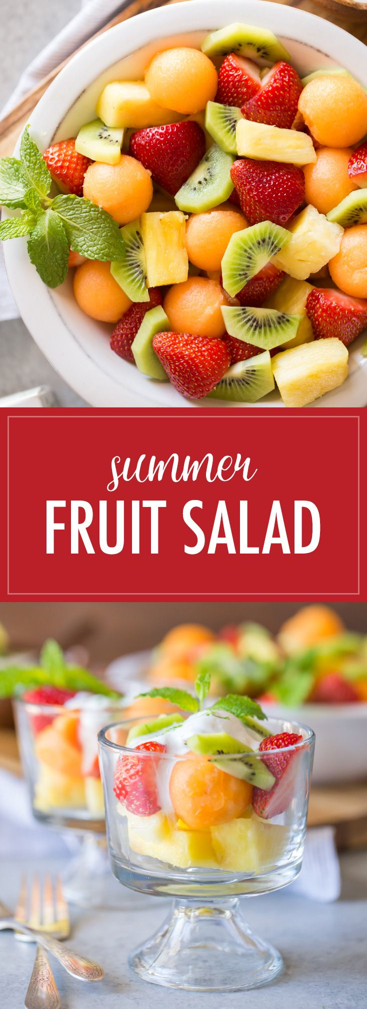 This Summer Fruit Salad is light and refreshing, with a delicious Coconut Lime Yogurt topping!