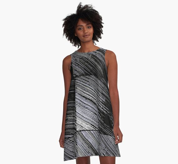 A-line Printed Dress, Line Art - The Scratch, melted paper pattern, abstract oversized dress, oversize tunic, loose dress, casual dress, sporty look, unique pattern straigh... #fashion #style #trending #etsy #clothing