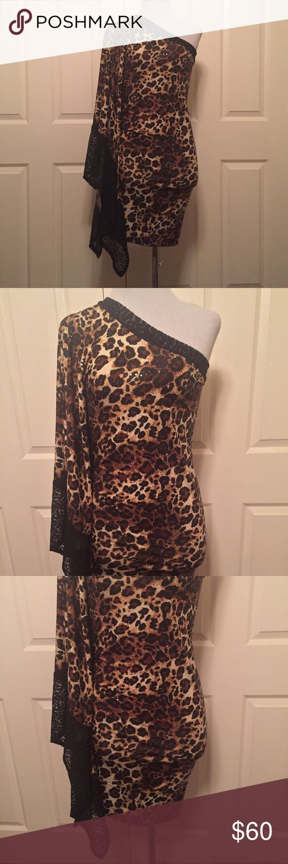 Animal print Bodycon dress. Stretch with lace trim Asymmetric Animal print dress. Lycra Stretch with lace trim.  Custom Design, boutique fashion. Fits size various. Size small to fitness large. Can be worn as a dress or top. NEW. Dresses Asymmetrical
