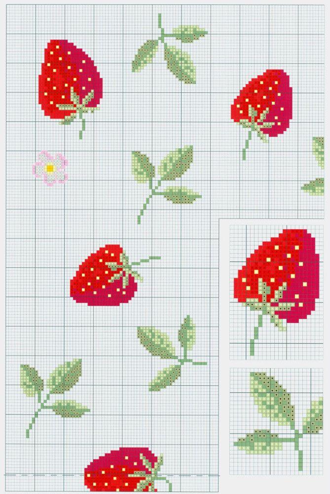 La nappe fraise en point de croix                                                                                                                                                      Plus