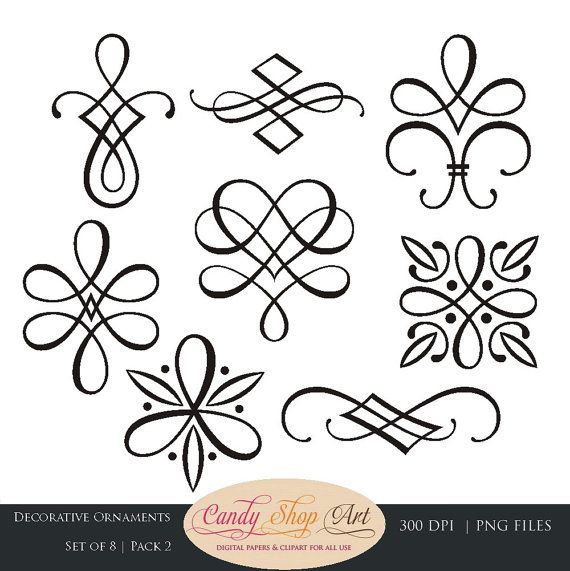 Instant Download - Calligraphy Ornaments, Graphic Ornaments, Wedding Clip Art, Decorative Ornaments, Wedding Ornaments