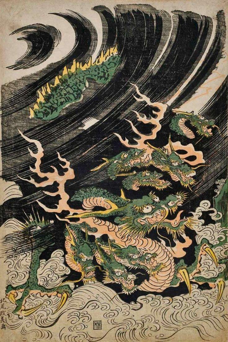 The 25 best yamata no orochi ideas on pinterest hydra monster japanese artists and shimane - Dessin dragon japonais ...