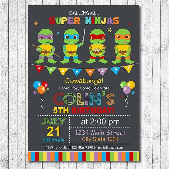 Ninja Turtles Birthday Invitation Ninja Turtles by funkymushrooms