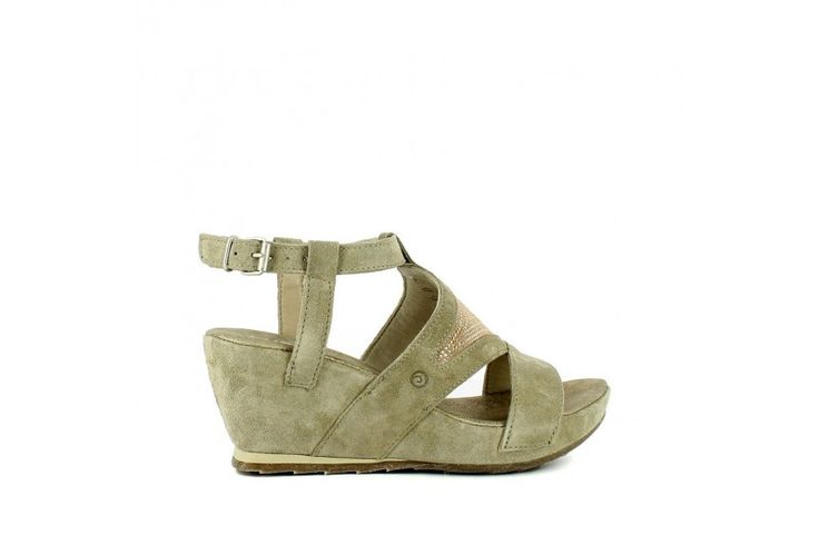 Saio Sand   Sandal in real suede with strass. Adjustable strap, rubber sole and wrapped wedge 7cm high