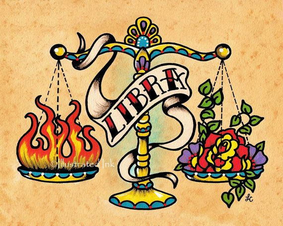 Zodiac Old School Tattoo Art LIBRA Scales Astrology Print 5 x 7, 8 x 10 or 11 x…