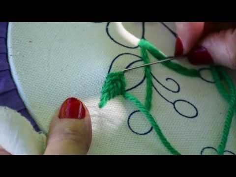 Hand Embroidery  Leafs ( Romanian, Fly, Herring Bone) Stitches Designs # 3 - by Maa Creative - YouTube
