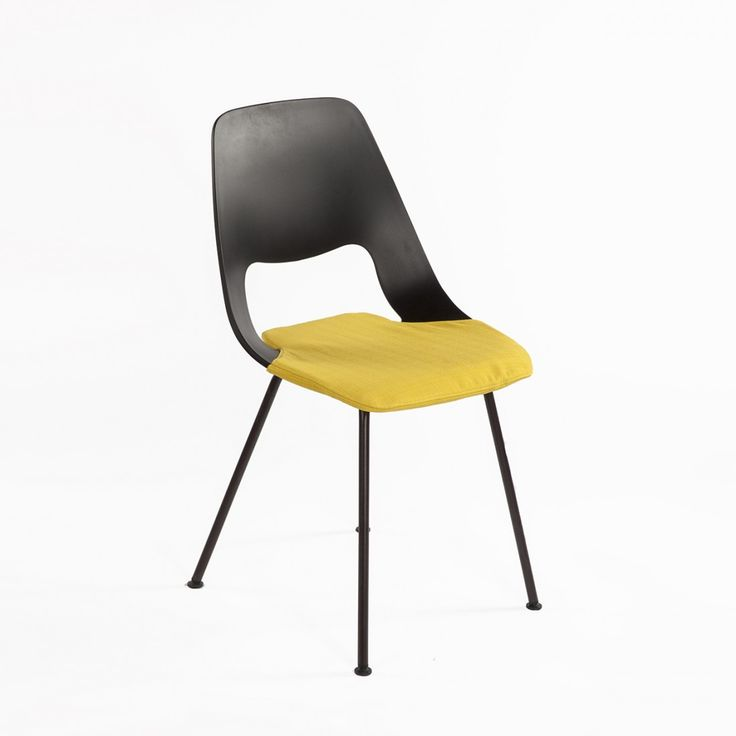 Mid-Century Modern Reproduction Jill Tube Side Chair with Yellow Seat Pad Inspired by Alfredo Haberli