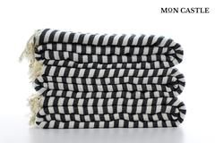 Oversized Beach Towels | Striped | Black | Bedspread | Queen | Large Beach Blankets | Bed Cover | Large Beach Towels | by Mon Castle