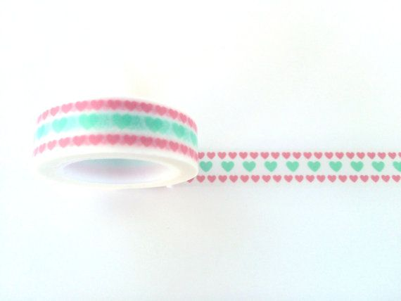 Cute pink anf mint hearts washi tape cute deco by Dotscutesupplies