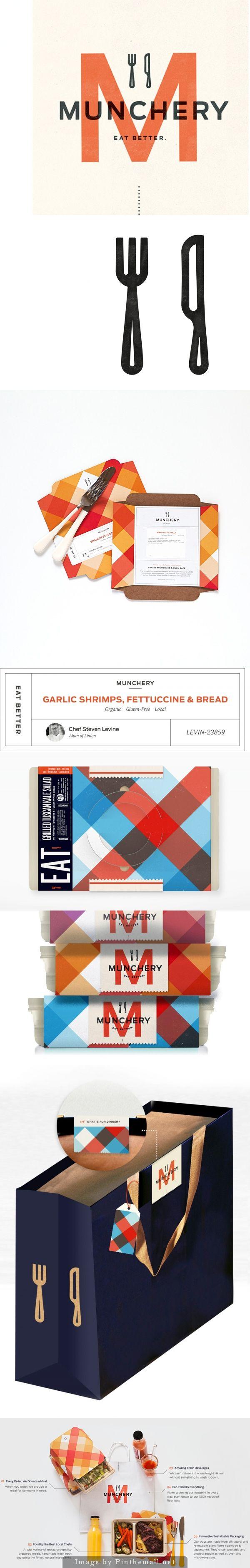 Munchery, unique  modern restaurant #branding #logo
