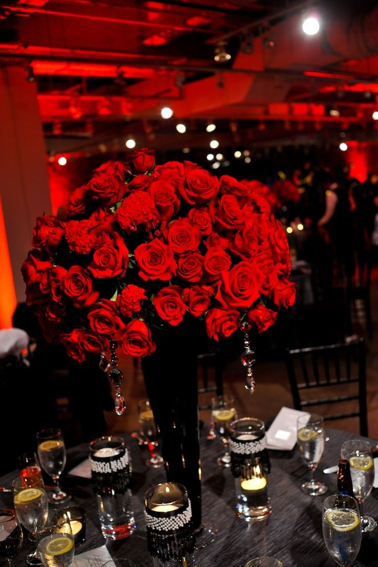 25 best ideas about red rose centerpieces on pinterest for Black table centrepieces