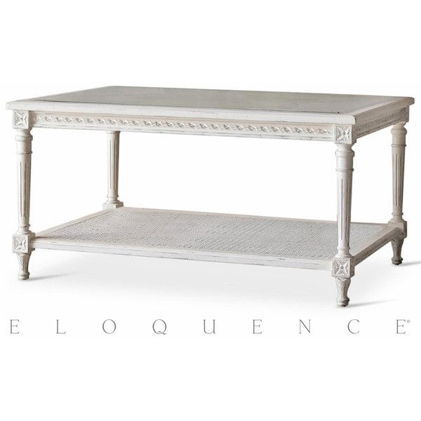 Eloquence Le Courte Coffee Table in Antique White ($1,365) ❤ liked on Polyvore featuring home, furniture, tables, accent tables, cream colored furniture, off white coffee table, cream furniture, bone coffee table and cream table