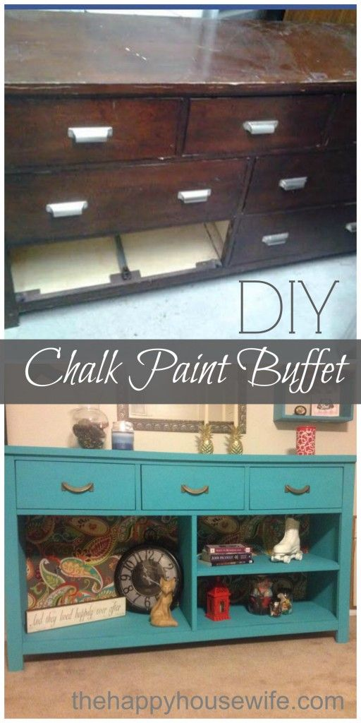 DIY Project: Chalk Paint Dresser to Buffet Makeover | The Happy Housewife