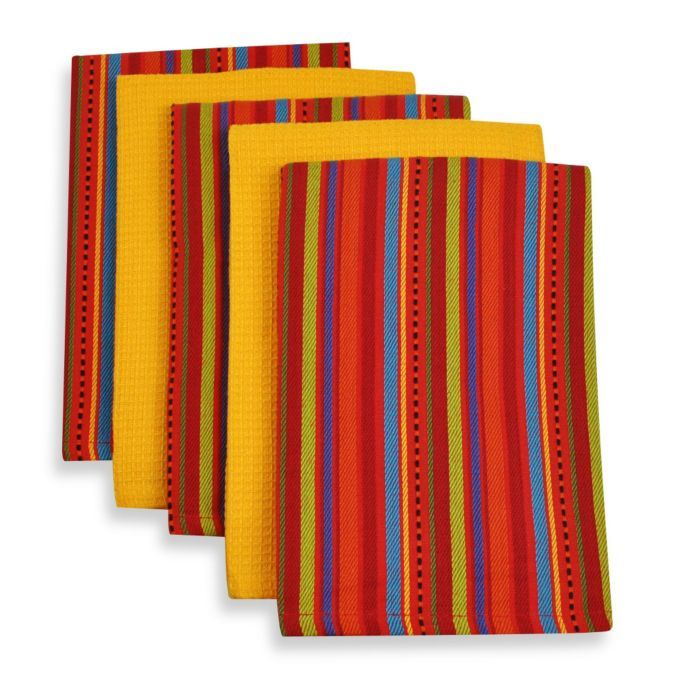 5 Piece 100 Cotton Woven Kitchen Towels In Ole Stripe