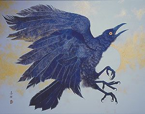 The three-legged crow is a creature found in various mythologies and arts of Asia, Asia Minor, and North Africa. It is believed by many cultures to inhabit and represent the sun.