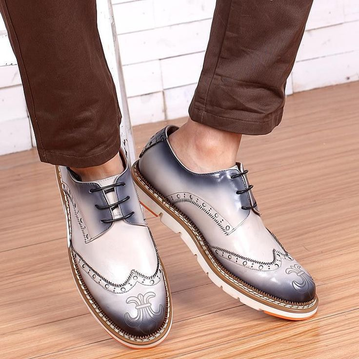Real Genuine Leather Vintage Classic Men Brogue Shoes Men's Brand Designer For…