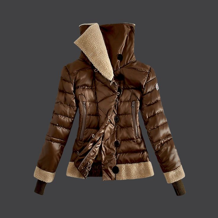 2013 New! France Moncler Women Down Jacket Double Stand Collar Coffee Outlet