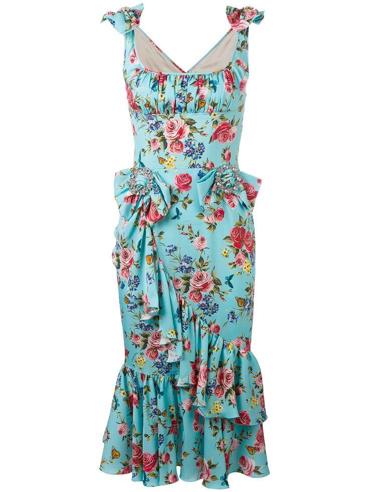 Dolce & Gabbana Платье с Цветочным Принтом и Бантом - Farfetch