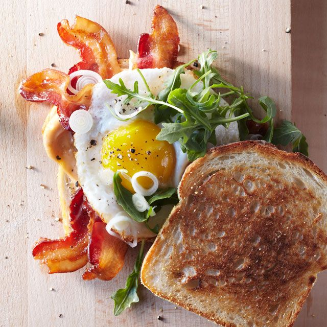 Bacon and Egg Sandwiches with Pickled Spring Onions (Credit: Gentl & Hyers)