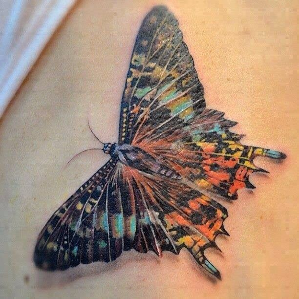 Watercolor butterfly tattoo, going to get my neck redone #butterfly #tattoos