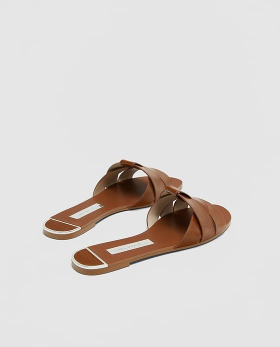 56a4e9862d4 Image 5 of LEATHER CROSSOVER SANDALS from Zara