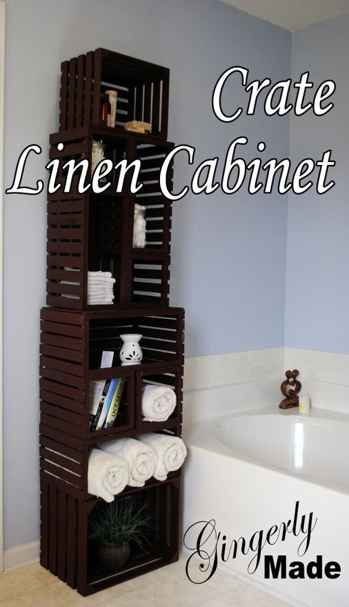 DIY wood crate cabinet. Great idea for bathroom storage or any room for that matter.