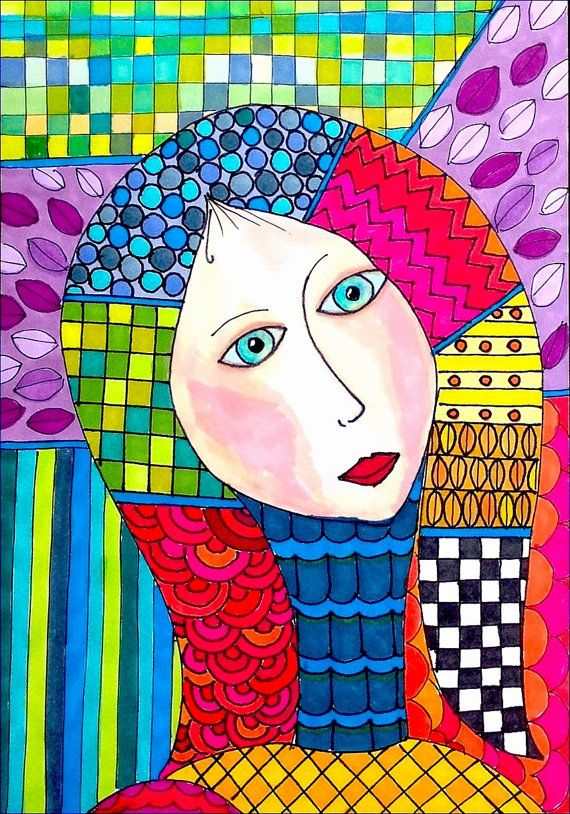 original hand made colorful Fine Art zentangle by anatdesign, $22.00