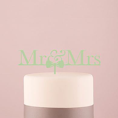 Mr and Mrs Bow Tie Acrylic Cake Topper - Daiquiri Green