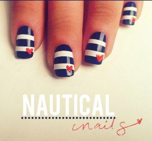 Nautical nails. How cute. Perfect for summer. #summer2012    http://www.luckymag.com/blogs/