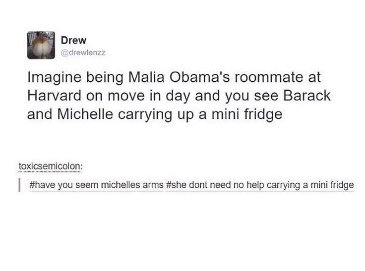 """""""What helps Obama unwind? Michelle Obama's arms.  *cue laughing from everyone in the Skype*""""- I AM WILDCAT"""