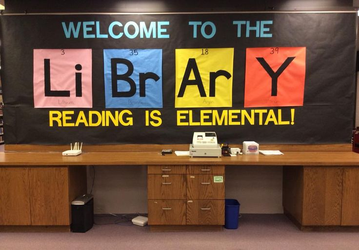 Literary Elements - Summer Reading Bulletin Board at Anderson Branch Library, Lincoln, Nebraska (Lithium, Bromine, Argon, Yttrium)