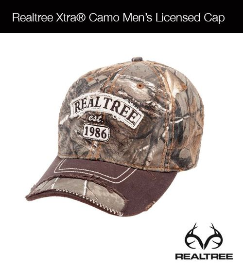Show your love for the outdoors while wearing the Realtree Xtra Camo Men's Licensed Cap, which is made of distressed 65% cotton and 35% polyester. This cap features a layered felt and twill Realtree appliqué with embroidery and a triglide back strap for an adjustable fit.