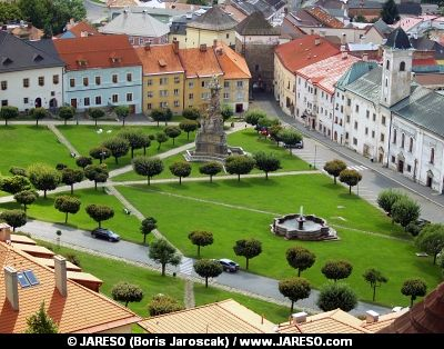 Aerial summer view of main square of Kremnica town with The Plague Column of the Holy Trinity.
