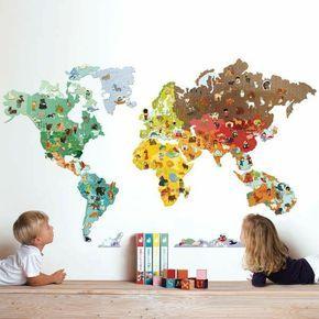Inspirational sch ne dekoideen kinderzimmer w nde dekorieren weltmappe tiere