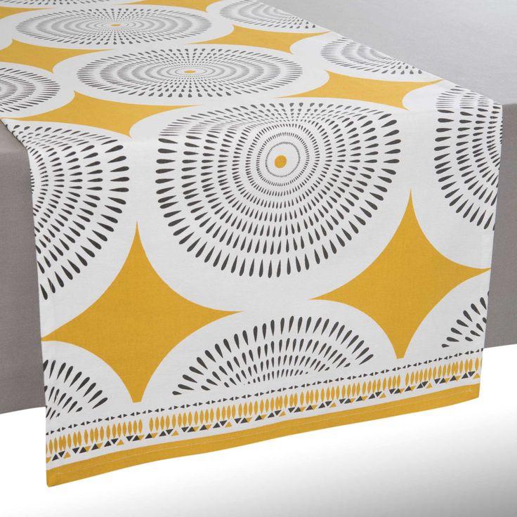 Chemin de table en coton jaune/gris ...