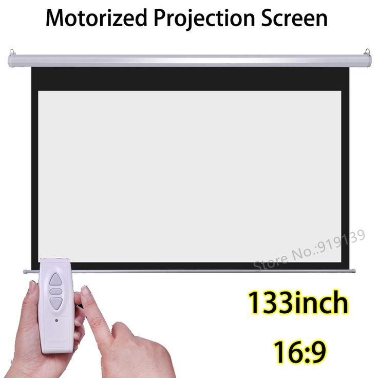 133 pulgadas 16:9 Motorizada Pantallas Mejor Precio Para Proyector HD 3D Pantalla De Proyección Eléctrica Con Mando a distancia Inalámbrico