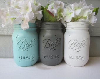 Painted and Distressed Ball Mason Jars- Light Turquoise/Teal/Aqua, Gray and White-Set of 3-Flower Vases, Rustic Wedding, Centerpieces
