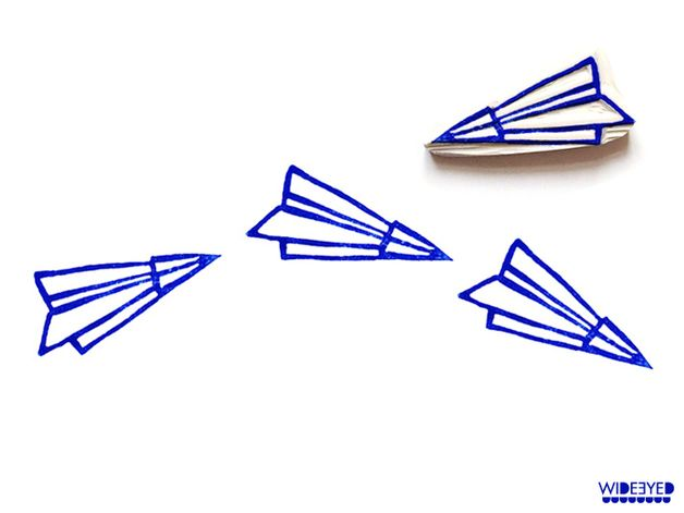 stamp | hand-carved | paper plane